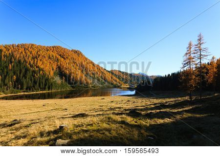 Mountain panorama from Italian Alps. Reflections on water from