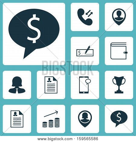 Set Of Hr Icons On Wallet, Cellular Data And Pin Employee Topics. Editable Vector Illustration. Includes Cup, Opinion, Prize And More Vector Icons.