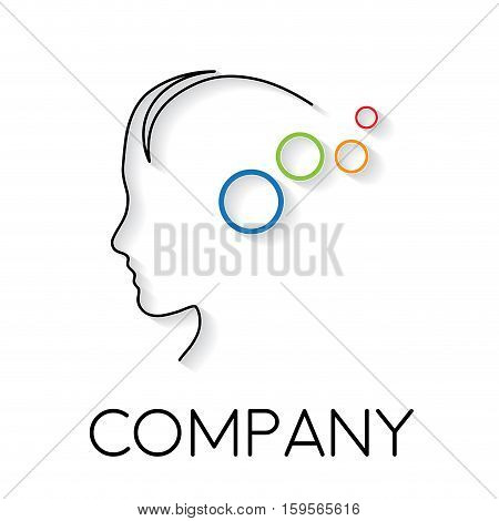 Vector sign abstract concept of psychologist analyst or scientist in linear style