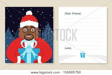Template greeting card New year's or Merry Christmas letter to Dear Friend . Cute african american santa in glasses with gift. Vector illustration. Modern flat design.