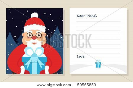 Template greeting card New year's or Merry Christmas letter to Dear Friend . Cute santa in glasses with gift. Vector illustration. Modern flat design.