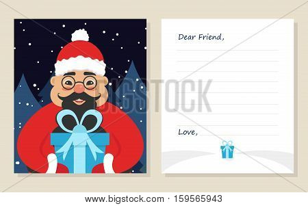Template greeting card New year's or Merry Christmas letter to Dear Friend . Cute asian santa in glasses with gift. Vector illustration. Modern flat design.