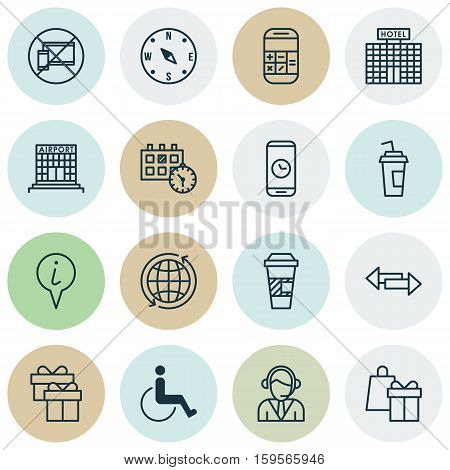 Set Of Airport Icons On World, Forbidden Mobile And Airport Construction Topics. Editable Vector Illustration. Includes Globe, Paralyzed, Arrows And More Vector Icons.