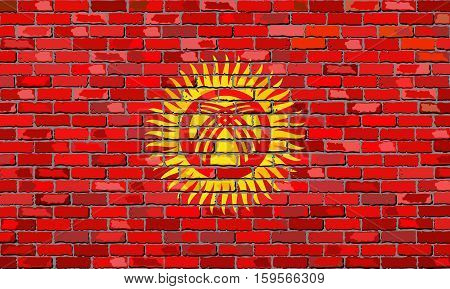 Flag of Kyrgyzstan on a brick wall - Illustration,  Flag of Kyrgyzstan in brick style