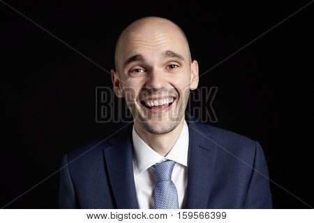 Laughing Man On Black Background