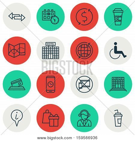 Set Of Traveling Icons On Drink Cup, Shopping And Appointment Topics. Editable Vector Illustration. Includes Coffee, No, Holiday And More Vector Icons.