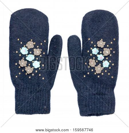 Mittens Isolated On White Background. Knitted Mittens. Mittens Top View.blue Mittens