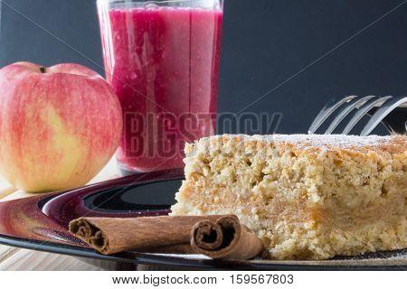 Hommade Apple Cake In The Black Plate