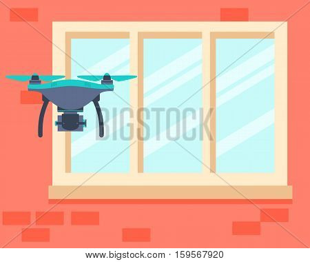 Drone spy is secretly video filming. Vector illustration