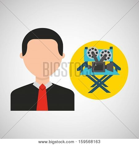 businessman movie director chair film icons vector illustration eps 10