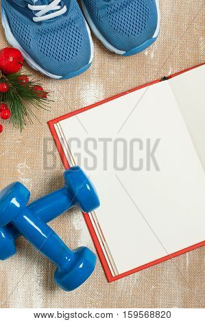 Christmas sport composition with blue sport shoes blue dumbbells red notebook and spruce branch with red berries. Concept christmas special for healthy lifestyle and sport. Flat lay vertical orientation.
