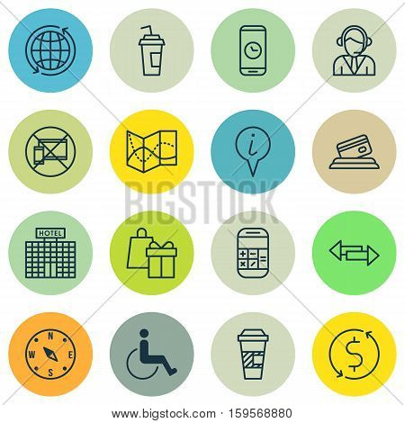 Set Of Transportation Icons On Forbidden Mobile, Shopping And Accessibility Topics. Editable Vector Illustration. Includes Drink, Direction, Building And More Vector Icons.