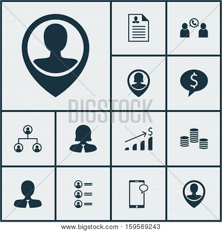 Set Of Human Resources Icons On Pin Employee, Phone Conference And Manager Topics. Editable Vector Illustration. Includes Resume, Male, Structure And More Vector Icons.