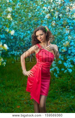 beautiful woman in red dress smiling and happy