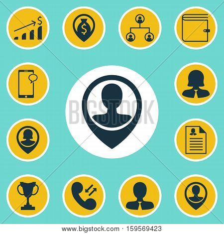 Set Of Human Resources Icons On Tree Structure, Manager And Messaging Topics. Editable Vector Illustration. Includes Organisation, Tree, Purse And More Vector Icons.