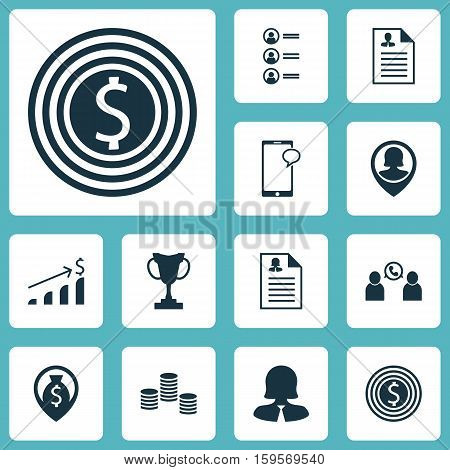 Set Of Management Icons On Money, Pin Employee And Phone Conference Topics. Editable Vector Illustration. Includes List, Application, Female And More Vector Icons.