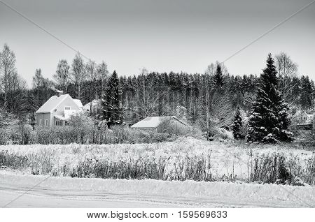 View of small swedish european town Soderhamn, winter seasonal background in black and white copors