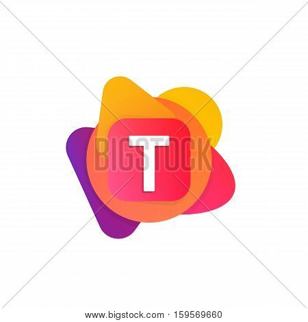 Abstract Fun Shape Elements Company Logo Sign Icon. T Letter Logotype Vector Design