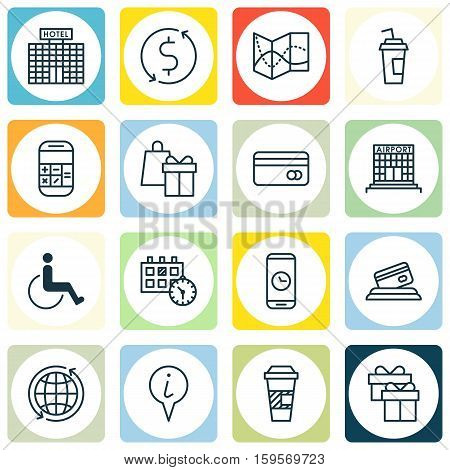 Set Of Travel Icons On Accessibility, Drink Cup And Appointment Topics. Editable Vector Illustration. Includes Calculator, Accessibility, Mobile And More Vector Icons.