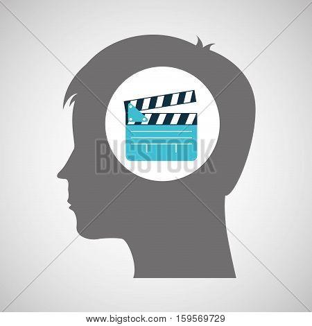 clapper film silhouette head think movie vector illustration eps 10