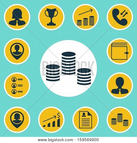 Set Of Hr Icons On Cellular Data, Wallet And Business Woman Topics. Editable Vector Illustration. Includes Resume, Increase, Money And More Vector Icons.