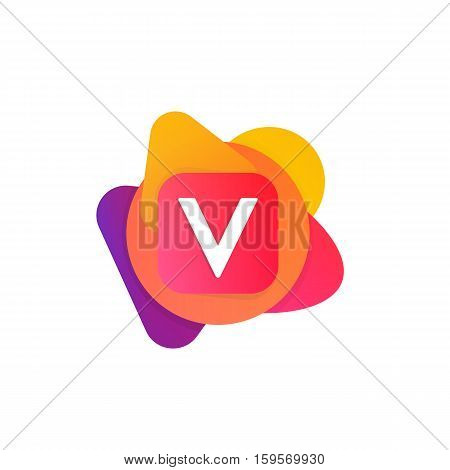 Abstract Fun Shape Elements Company Logo Sign Icon. V Letter Logotype Vector Design