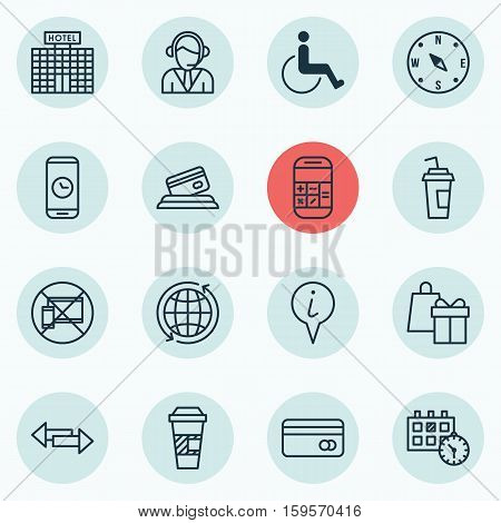 Set Of Traveling Icons On Locate, Takeaway Coffee And World Topics. Editable Vector Illustration. Includes Hotel, Cup, Operator And More Vector Icons.