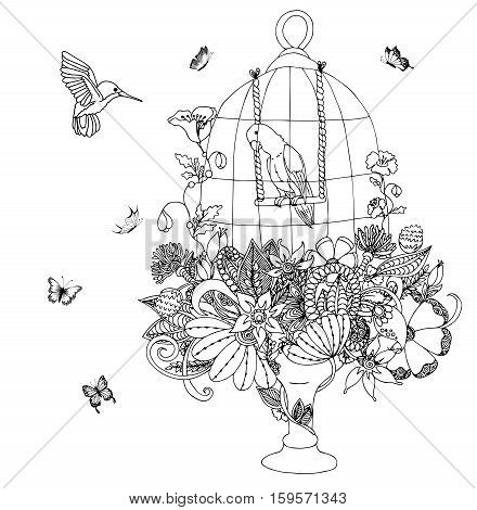 Vector illustration zentangle cage with a parrot and flowers. Colibri. Coloring book anti stress for adults. Black and white.