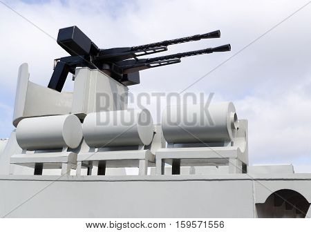 Machinegun On Military Boat