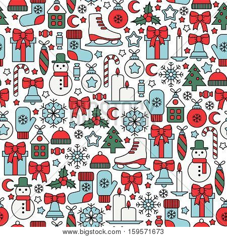 seamless pattern with colorful christmas icons