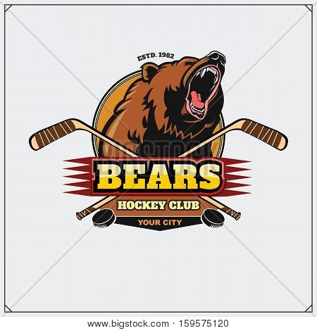 Hockey club emblem with head of bear.