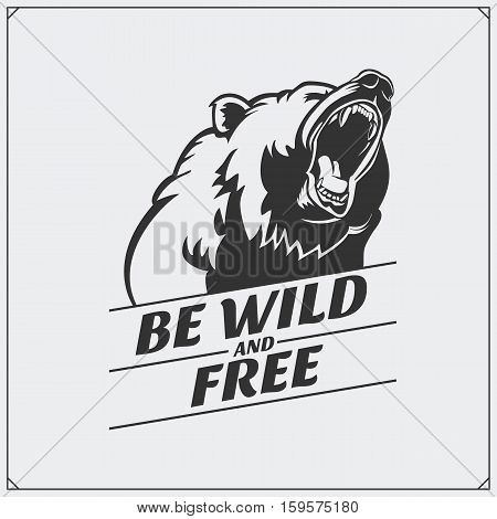 The emblem with bear. Vector monochrome illustration.