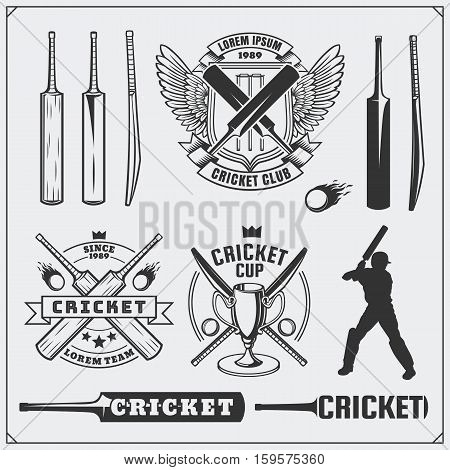 Set of cricket sports symbols, labels and design elements. Cricket emblems and equipment elements.