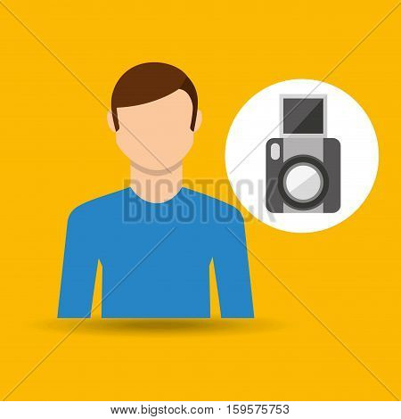 character man movie concept snapshot camera vector illustration eps 10