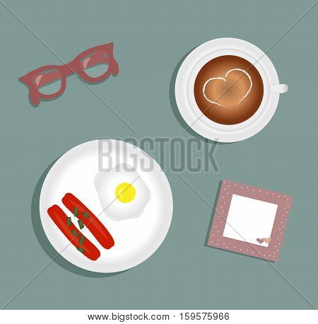Breakfast: fried egg with two sausage, topped with green onions. Cup with coffee on saucer. Burgundy glasses. Napkin with cute pink trim with white polka dots and hearts. Vector illustration.