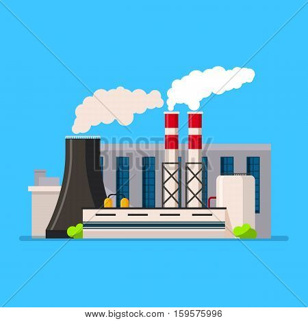 Factory building icon vector set in the flat style. Industrial factory building concept isolated from the background. Manufacturing factory building.