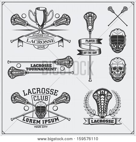 Lacrosse club labels, emblems and design elements.