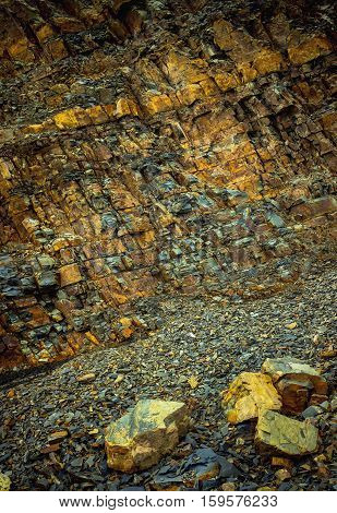 close up shot of the mountain rockfall