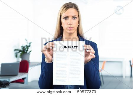 Woman Holding And Showing A Contract