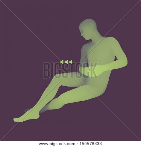 Man in a Thinker Pose. 3D Model of Man. Business, Science, Psychology or Philosophy Vector Illustration.