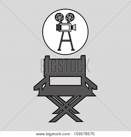 camera film vintage with movie director chair vector illustration eps 10