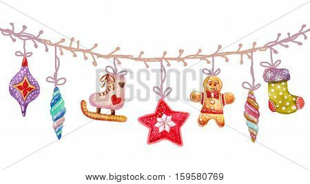 Watercolor seamless Christmas icons Christmas tree toys, items of a collection and illustration.