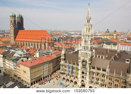 Aerial View Of Munchen (bavaria, Germany) With The New Town Hall And Frauenkirche