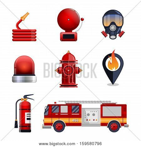 Firefighter elements set collection, including mask, hose, fire extinguisher, hydrant, gps location spot. fire engine car vector illustration.