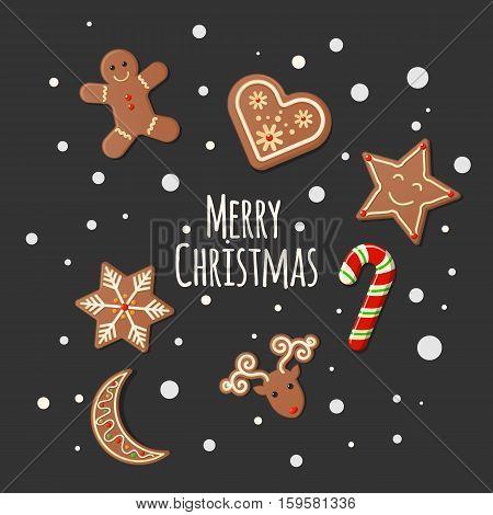 Christmas Cookies Gingerbread shortbread Cookies on dark background - Merry Christmas sign