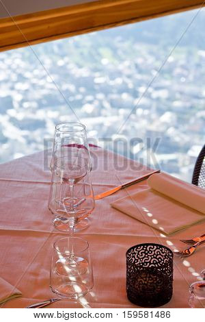 View from mountain restaurant on the town with a shallow depth of field