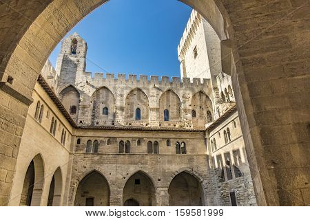 AVIGNON FRANCE - NOV 3 2016: inside the Popes Palace in Avignon Provence France. The old palace is meanwhile a museum and touristic attraction.