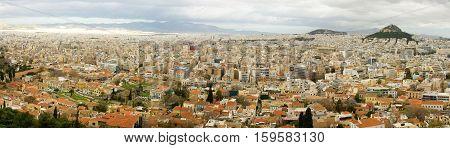 Panoramic Bird's Eye View Of Athens From Akropolis Hill