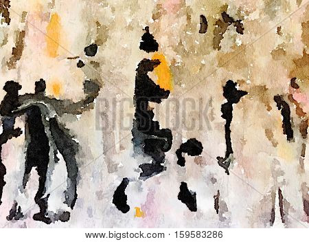 Digital watercolor painting of a black brown blue orange and white painted abstract background. People dancing.