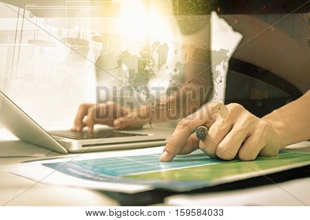 Double Exposure Of Business People Prepare And Reading For Documents And Graph Business Diagram, Fil